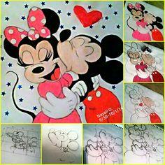 Oil pastels drawing Mickey & Minnie Mouse  @ nayeli.ochoa.509
