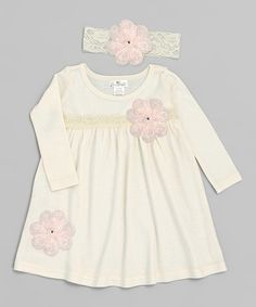 This Ivory & Pink Floral Lace Dress & Headband - Infant by Truffles Kids is perfect! #zulilyfinds