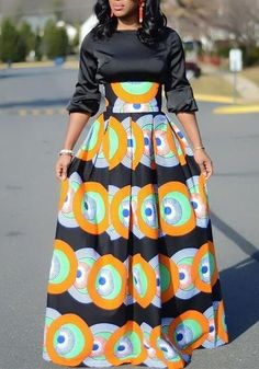 Sum All Chic, Shop Orange Tribal Floral Print Pleated High Waisted Vintage African Party Skirt online. African Maxi Dresses, Latest African Fashion Dresses, African Dresses For Women, African Print Fashion, Africa Fashion, African Attire, African Wear, Ankara Fashion, African Style