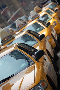 Taxis, Manhattan ♥♥ #NYC #newyork #NY New York || Follow on http://www.pinterest.com/lcottereau/new-york-i