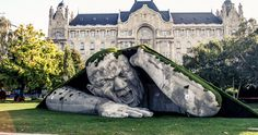 Giant sculpture crawls out of the ground in budapest. This head turning sculpture is located in Széchenyi Square in Budapest, Hungary-- artist Ervin Loránth Hervé Robin Wight, Outdoor Sculpture, Outdoor Art, Sculpture Art, Sculpture Garden, Human Sculpture, Stone Sculpture, Street Art, Instalation Art
