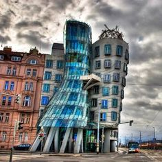 The Dancing House in downtown Prague. It was designed by Vlado Milunic in co-operation with Frank Gehry