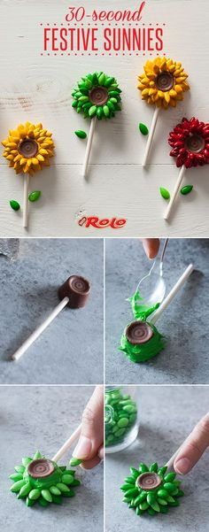 Make craft time even sweeter with the chewy caramel and smooth milk chocolate of ROLO's! Not only are they deliciously perfect on their own, but they can be turned into so many other fun treats thanks to their versatile shape. Try this DIY 30-second edible chocolate sunflower pops with ROLO centers for a deliciously smooth and fun project!