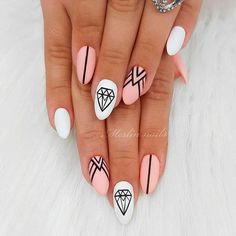 Trendy Pink Geometric Manicure ❤ Totally Hip Summer Nail Designs Your Frie. - Nail Design Ideas, Gallery of Best Nail Designs Acrylic Nails Natural, Almond Acrylic Nails, Clear Acrylic, Acrylic Art, Trendy Nail Art, Stylish Nails, Winter Nails, Summer Nails, Pink Summer