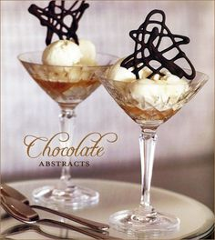 Chocolate Abstracts with vanilla ice cream served in martini glasses and topped with a splash of amaretto. The end result is a very alluring, grown-up treat that's perfect for Valentine's day!