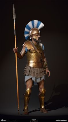 I did the sculpting, game mesh, baking, texture painting for the different versions of the Athenian Heavy Soldiers. Ancient Sparta, Ancient Rome, Ancient Greece, Ancient History, Arte Assassins Creed, Assassins Creed Odyssey, Greek Warrior, Fantasy Warrior, Greek Soldier