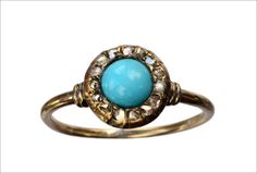 1880s Victorian Turquoise and Rose Cut Diamond Ring, 14K (sold)(in the online shop)