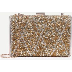 Gold Encrusted Stone Clip Frame Clutch With Chain ($29) ❤ liked on Polyvore featuring bags, handbags, clutches, chain handbags, gold chain purse, gold clutches, gold handbags and brown handbags