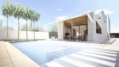 La Casa Fernández es una vivienda mediterránea con forma de cubo amplia y luminosa. Su zona de día favorece el relax y la vida en común Fachada Colonial, Bungalow, Relax, Mansions, House Styles, Outdoor Decor, Valencia, Home Decor, Shape
