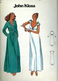 Vintage Sewing Pattern Butterick 6370 John Kloss NightGown/Robe Set Bust 36