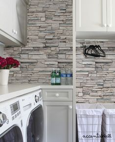 Faux Stone peel & stick fabric wallpaper. Get the look of stacked stone, cultured stone, veneer stone and real stone using our Faux Stone wallpaper. AccentuWall Peel-and-Stick removable wallpaper is proudly designed and made in the USA! Our wallpaper is made from a high-quality polyester