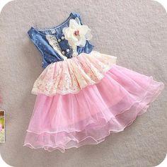 Denim Pink Tulle Girl Dress - Princess Dress - Birthday Girl Dress Toddler