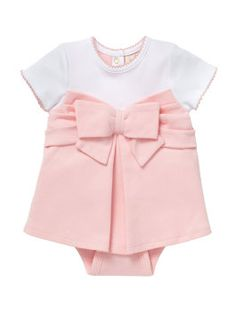 made from super-soft pima cotton, our baby jillian dress features a pretty bow and a full pink skirt. too cute!