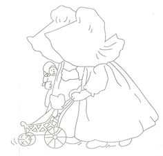 Lace 'n' Ribbon Roses: Farm Girls Sunbonnet Sue & Hannah with the Doll Stroller .... Vintager Things Thursday