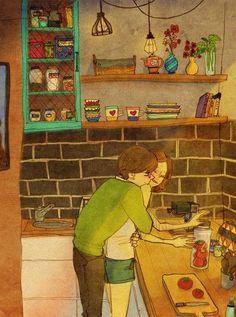 аниме, искусство, парень, пара, рисунок, девушка, иллюстрация, любовь
