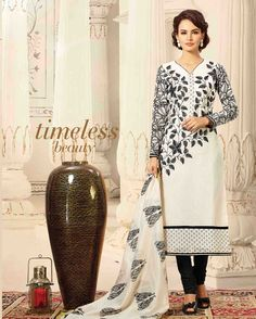 White   luxuriant Embroidered Chanderi Salwar Suits for women(Semi Stitched)       Fabric:   Chanderi       Work:   Embroidered       Type:   Salwar Suits for   women(Semi Stitched)       Color:   White                 Fabric Top   Chanderi