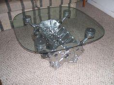 "Engine Block Coffee Table - Powder Coated ""Super Chrome"""