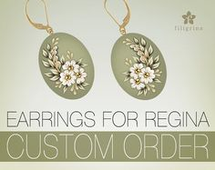 CUSTOM ORDER for Regina  oval earrings with floral di Filigrina