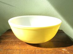 Pyrex bowl  large yellow vintage primary series by 2roads2take #vintage #hostess