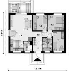Projekt domu Tebe 83,89 m2 - koszt budowy 147 tys. zł - EXTRADOM