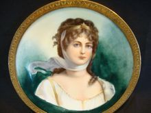 """Extraordinary Portrait of Queen Louise of Prussia ~ 4 3/8"""" W Miniature ~Framed Metal Holder ~ Limoges Porcelain ~ Delinieres & Co Limoges France 1879-1900  www.timberhillsantiques.com"""