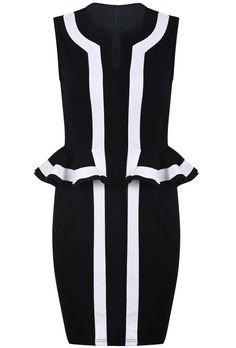 Black Contrast White Sleeveless Ruffle Bodycon Dress