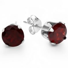 This lovely Earrings feature 1.50 ct 6mm real natural genuine round shape red garnet with 925 sterling silver delicate four prong setting with silver push back
