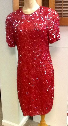 Vintage Modi Red Beaded Dress by RESTYLE576 on Etsy, $65.00