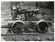 An Indian motorcycle from the 1910's or 20's made into a railroad service car.