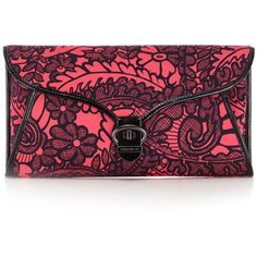 Karen Millen Lace Print Clutch ($140) ❤ liked on Polyvore