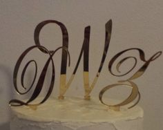 Monogram Cake Topper Acrylic  Free Shipping by iCreateToppers, $45.00