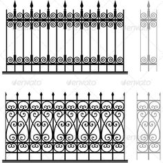 Buy Wrought Iron Modular Railings and Fences by barbulat on GraphicRiver. Wrought iron modular railings and fences Design Retro, Wrought Iron Fences, House Front Design, Grill Design, House Entrance, Fence Design, Welding Projects, Vector Pattern, Design Elements