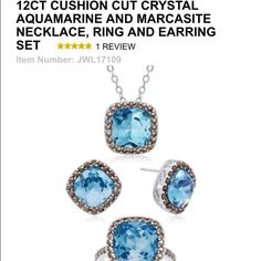 Aquamarine jewelry set Gorgeous aquamarine jewelry set. Includes earrings, necklace 18 inches and ring size 7. Perfect for a birthday gift, or just to have for yourself. List price was $229!! Jewelry