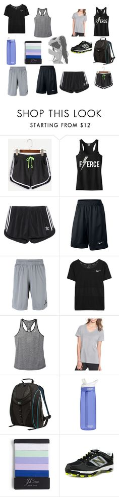 """Track practice"" by jordan-moffitt ❤ liked on Polyvore featuring WithChic, adidas Originals, NIKE, adidas, Champion, Mobile Edge, CamelBak, J.Crew and New Balance"
