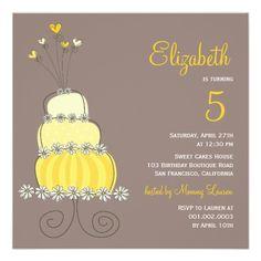 Whimsical Sweet Cake Girl Birthday Party Photo Custom Invites