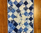 Blue and White Winter Patchwork Quilted Table Runner by CreationsbyWeezie on Etsy, $40.00 USD