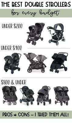 happily trista shares the top 10 double strollers. This list in broken down by budget and includes the pros and cons of each stroller.