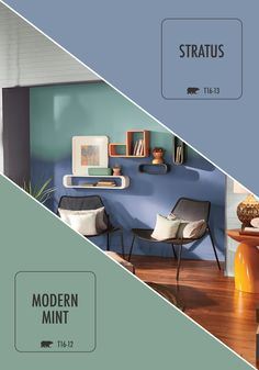 The BEHR paint 2016 Color Trends will inspire the color palette in your new home. This subdued ombre meshes perfectly in this contemporary and eccentric lounge area.
