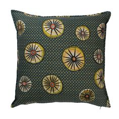 Amasumpa linen traditional african motif cushion in Swamp