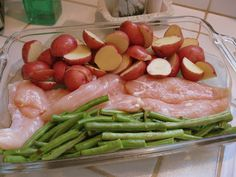 Chicken, potatoes & green beans. Easy dinner made with one dish and baked in the oven!
