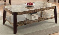 Acme Furniture 82125 Dacia Coffee Table, Faux Marble & Brown