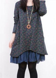 Autumn Winter Navy Blue Long Sleeve Swing Tunic Dress