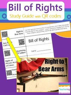 Bill of Rights foldable study guide with QR codes! 10 Bill of Rights amendments with definitions. With an iPad or Smartphone, the QR codes link each amendment to a labeled photo. Supports visual learners & ELLs. Gives students color images, but requires no color ink!  All 10 Bill of Rights Amendments included. Including: Freedom of Speech, Religion, Press, Assembly, and Petition Right to Bear Arms Quartering of Soldiers Arrests and Searches