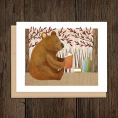 Bookish Forest Bear Blank Note Card