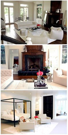 Rachel Zoe's house: neutrals, stripes, wood, white, metal, flowers