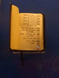 The prayer book Diana received from Mother Theresa.
