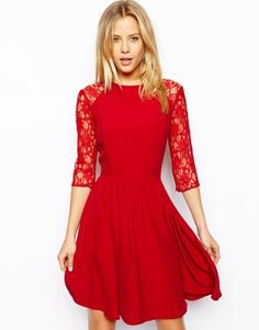 Red Skater Dress With Lace Sleeves