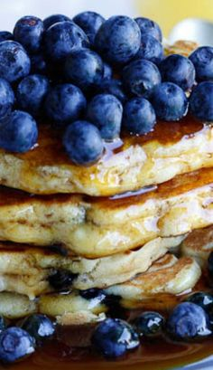 Blueberry-Ricotta Flapjacks/Pancake Recipe ~ By adding ricotta to these flap jacks, they become fluffy and incredibly light