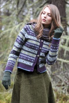 Shetland Fair Isle Cardigan in blueberry colourway by Brora