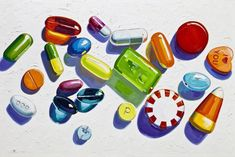 Kelly Reemtsen, Pills and Candy painting Drugs Art, Or Noir, Turbulence Deco, Art And Craft, Damien Hirst, Wayne Thiebaud, A Level Art, Gcse Art, Art School